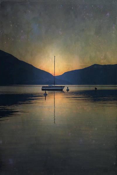 Lake Maggiore Photograph - Sailing Boat At Night by Joana Kruse