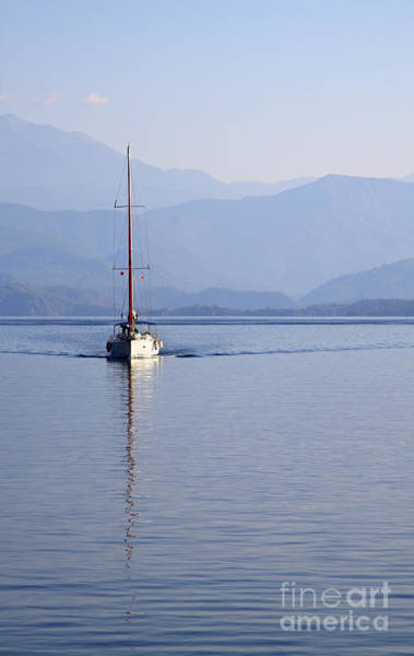 Wall Art - Photograph - Sailing Boat In Skopia Limani At Dawn by Louise Heusinkveld