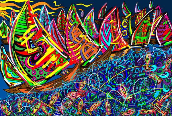 Wall Art - Painting - Sailing The Deep Blue by Karen Elzinga