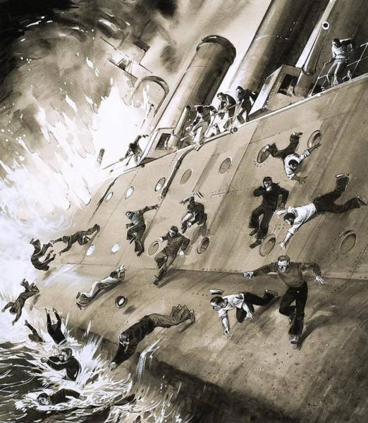 Accident Painting - Sailors Escaping Hms Natal Which Caught Fire In Cromerty Firth In 1915 by English School