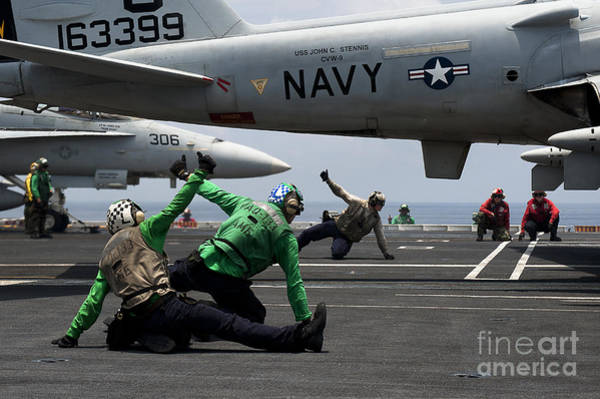 Prowler Photograph - Sailors Give Launch Approval For An by Stocktrek Images