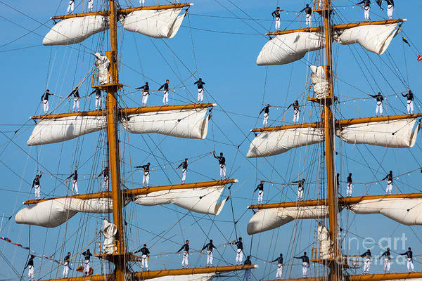 Photograph - Sailors On The Yard Arms Of The Tall Ship Guayas  by Susan Cole Kelly
