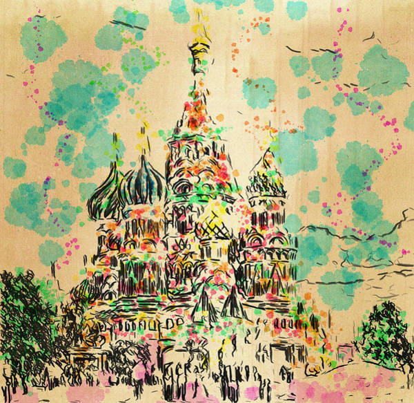 Town Square Digital Art - Saint Basilic In Moscow by Yury Malkov