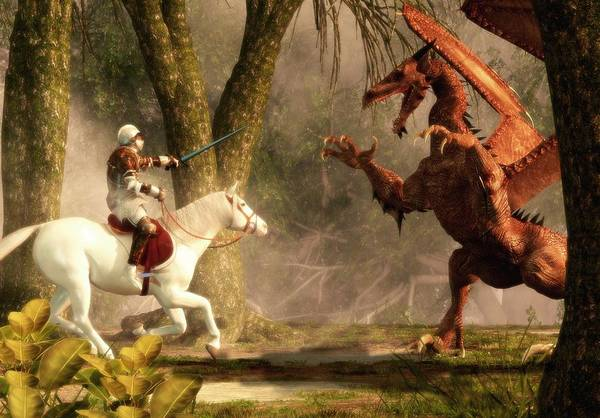 Digital Art - Saint George And The Dragon by Daniel Eskridge