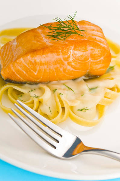 Photograph - Salmon Steak On Pasta Decorated With Dill by U Schade