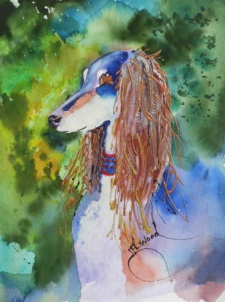 Elwood Blues Painting - Saluki Blue by Jann Elwood