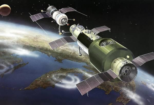 Salyut 1 Space Station, Artwork Art Print by Ria Novosti