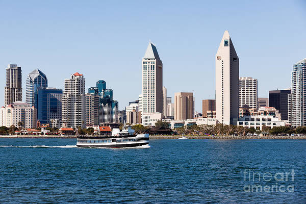Touring Photograph - San Diego Skyline And Tour Boat by Paul Velgos