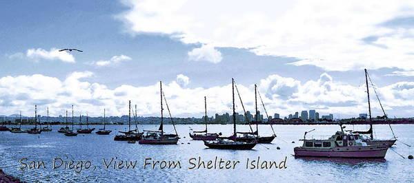 Digital Art - San Diego View From Shelter Island by Visual Artist Frank Bonilla