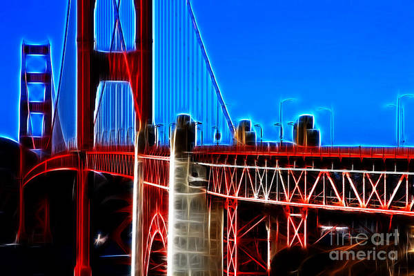 Photograph - San Francisco Golden Gate Bridge Electrified by Wingsdomain Art and Photography