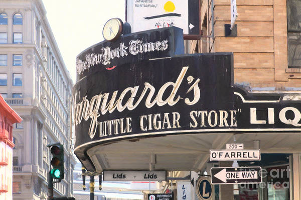 Photograph - San Francisco Marquard's Little Cigar Store On Powell And O'farrell Streets - 5d17954 - Painterly by Wingsdomain Art and Photography