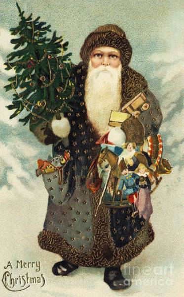 Winter Holidays Painting - Santa Claus With Toys by American School