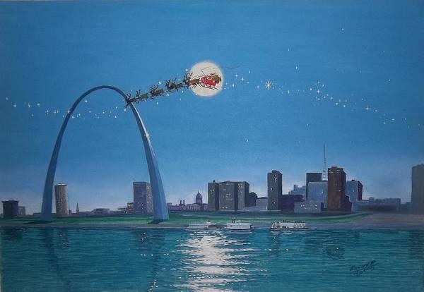 St Louis Arch Painting - Santa In St. Louis by Bernard P Thomas