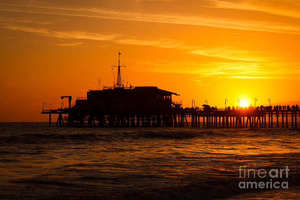 Santa Monica Pier Photograph - Santa Monica Pier Sunset by Paul Velgos
