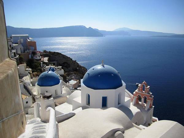 Photograph - Santorini Blue Domes Greek Isle Greece by John Shiron