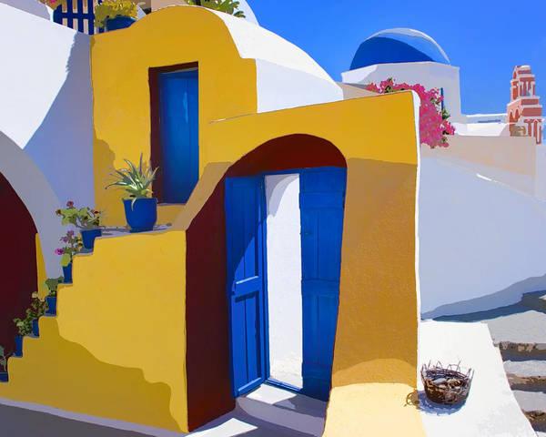 Greek Mixed Media - Santorini Courtyard by Dominic Piperata