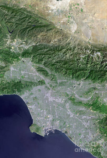 Road Map Photograph - Satellite View Of Los Angeles by Stocktrek Images