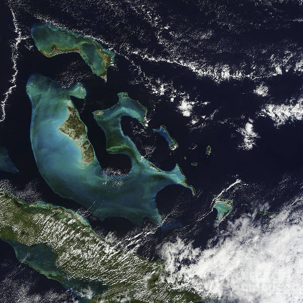 Andros Photograph - Satellite View Of The Bahama Islands by Stocktrek Images