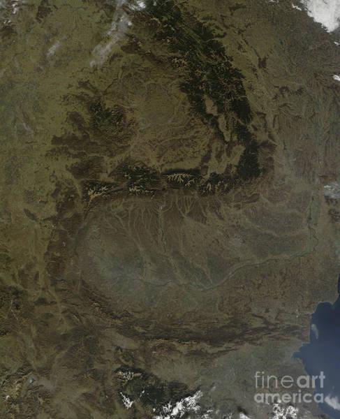 Balkan Peninsula Photograph - Satellite View Of The Carpathian by Stocktrek Images