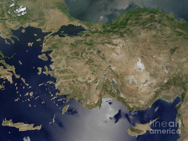 Balkan Peninsula Photograph - Satellite View Of Turkey by Stocktrek Images