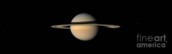 Dione Photograph - Saturn And Moons by Nasa