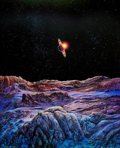 Cosmic Painting - Saturn From Iapetus by Don Dixon