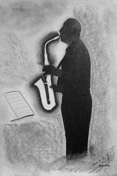 Sax Drawing - Sax Player Silhouette by Miguel Rodriguez