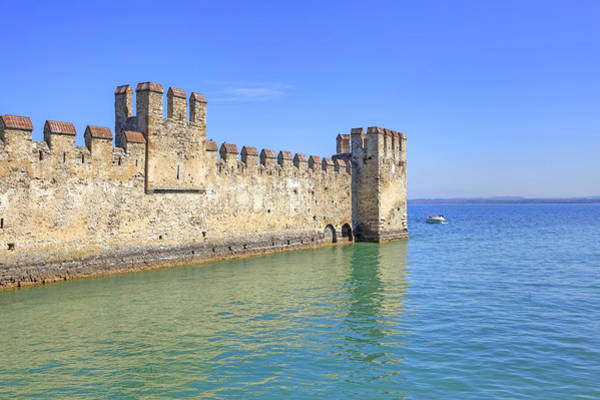 Northern Italy Photograph - Scaliger Castle Wall Of Sirmione In Lake Garda by Joana Kruse