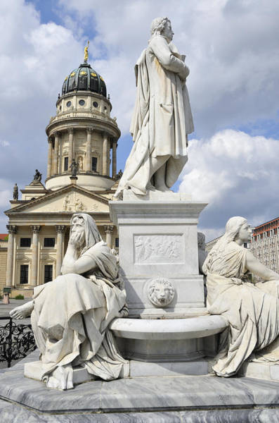 Berlin Cathedral Photograph - Schiller Monument Gendarmenmarkt Square Berlin Germany by Matthias Hauser