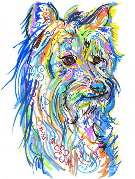 Warhol Drawing - Schnuggles Print by Rebecca Fischer
