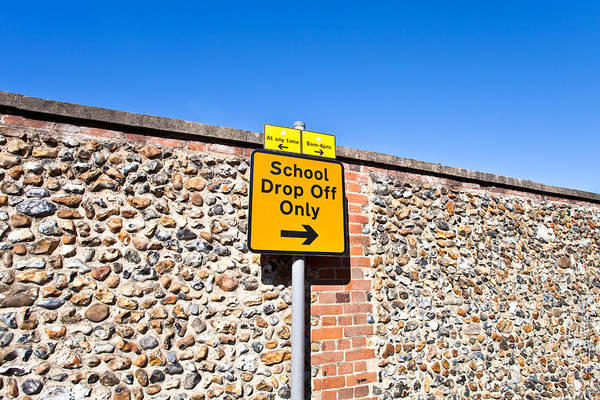 Back Road Photograph - School Parking Sign by Tom Gowanlock