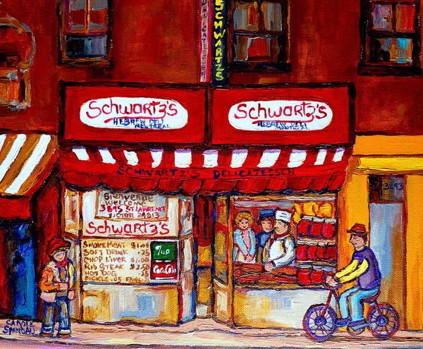 Painting - Schwartz's Deli-montreal Street Scenes-painting-by  Quebec Artist-carole Spandau by Carole Spandau