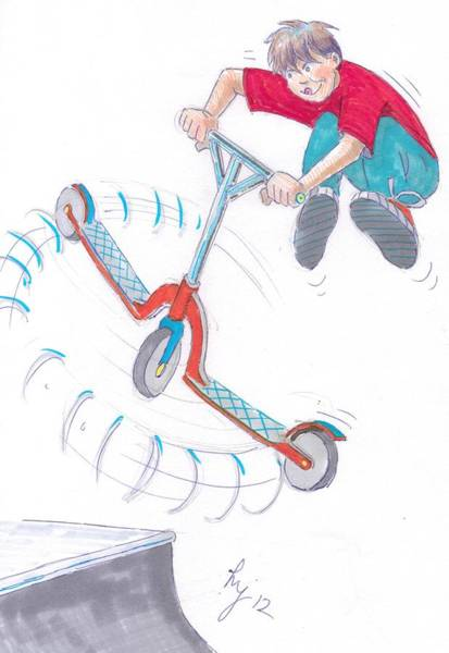 Drawing - Scooter Trick Cartoon by Mike Jory