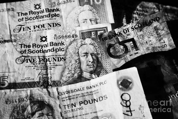 Legal Tender Photograph - scottish pound banknotes in Scotland UK by Joe Fox