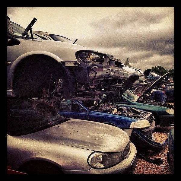 Vehicle Photograph - #scrap #scrapyard #junkyard #junk #car by Miss Wilkinson