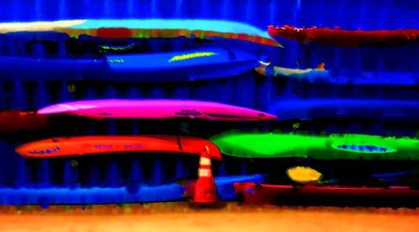 Wall Art - Digital Art - Sea Kayaks 1 by Eve Paludan