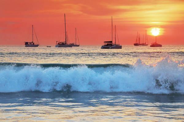 Wall Art - Photograph - Sea Waves At Sunset by Teerapat Pattanasoponpong