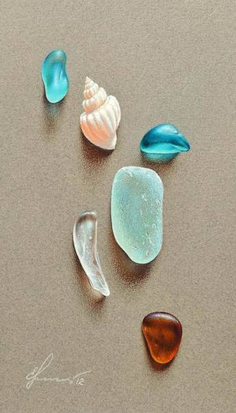 Drawing - Seaglass Pieces by Elena Kolotusha