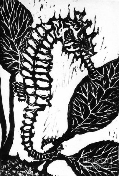 Linoleum Mixed Media - Seahorse Block Print by Ellen Miffitt