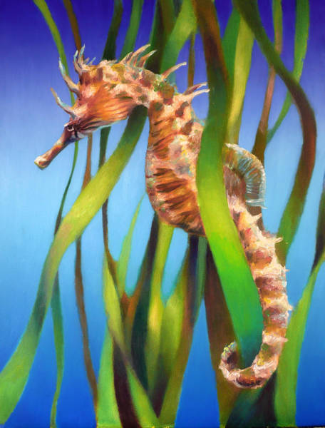 Wall Art - Painting - Seahorse II Among The Reeds by Nancy Tilles