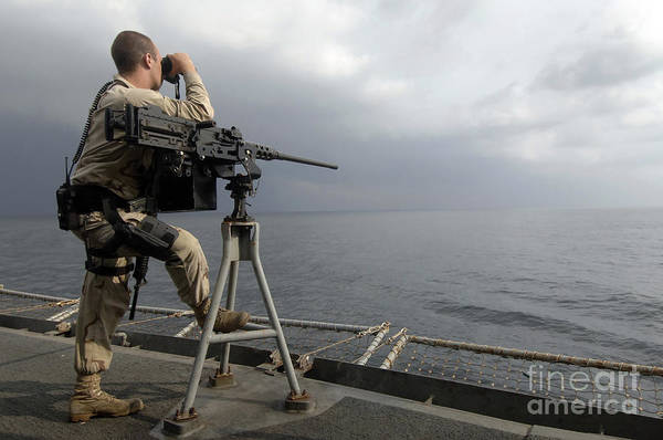 Shipmates Photograph - Seaman Scans The Ocean by Stocktrek Images