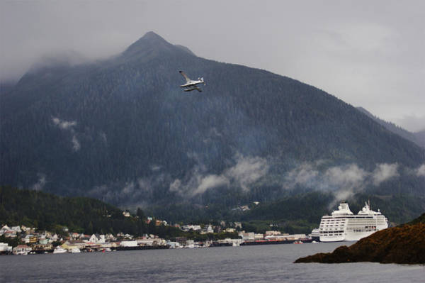 Ketchikan Photograph - Seaplane Over Ketchikan Harbor With One by Melissa Farlow