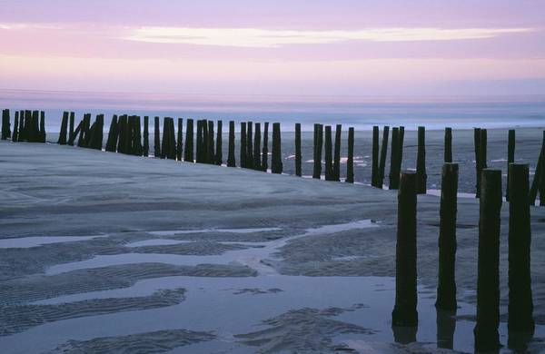 Expanse Photograph - Seascape At Dusk With Pillars In by Axiom Photographic