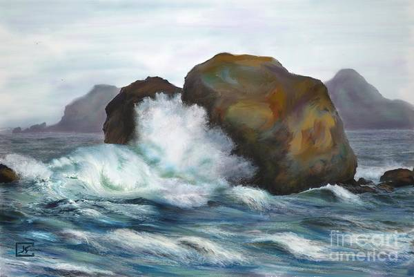 Seascape Rocks And Surf Art Print by Judy Filarecki