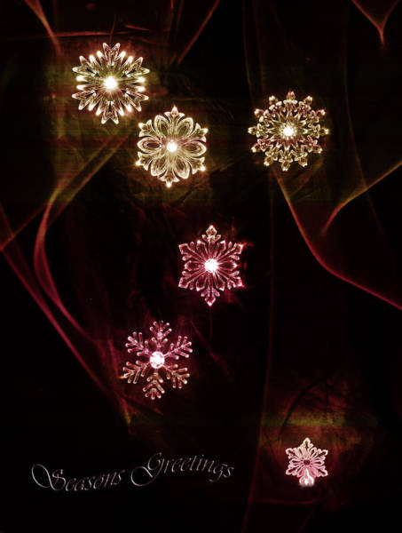 Photograph - Seasons Greeting Holiday Card Snowflakes by Beverly Cash