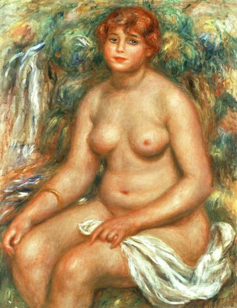 Wall Art - Painting - Seated Bather by Pierre Auguste Renoir