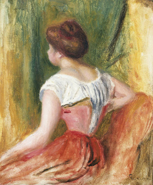 Seat Painting - Seated Young Woman by Pierre Auguste Renoir