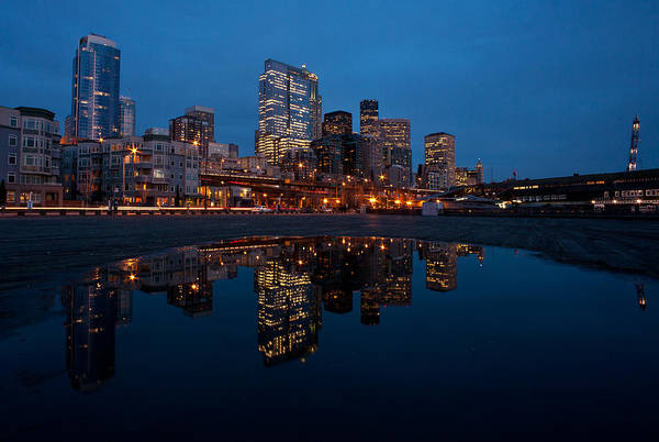 Emerald City Wall Art - Photograph - Seattle Reflected by Mike Reid