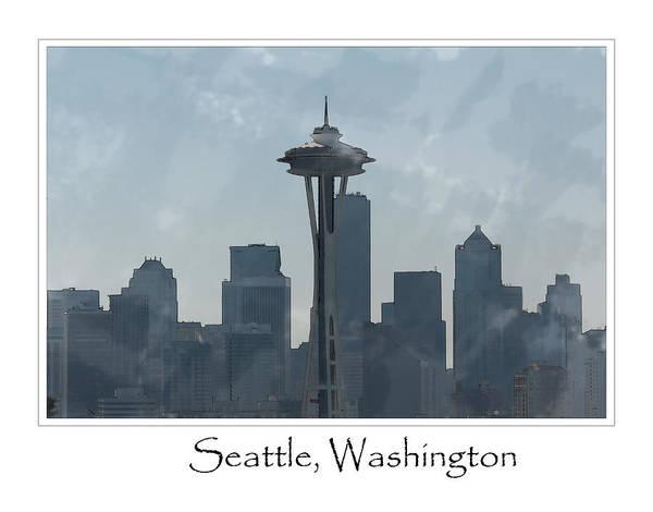 Digital Art - Seattle Washington Skyline by Brandon Bourdages