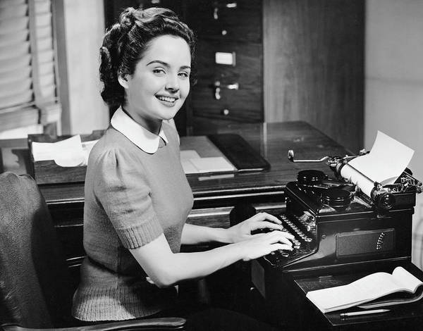Businesswoman Photograph - Secretary Typing by George Marks